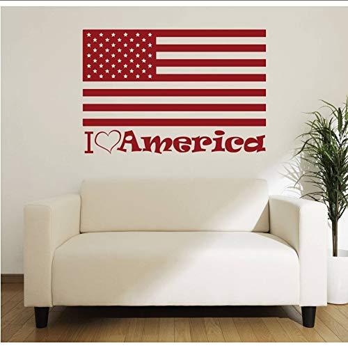 (hllhpc Amerikanische Flagge Wandtattoo Zitate Ich Liebe Amerika Vinyl Wandaufkleber Für Kinderzimmer Wohnzimmer Patriotischen Stil Wohnkultur 63 * 42 cm)