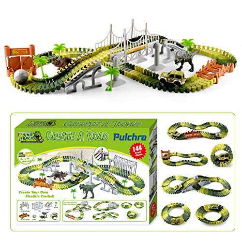 Pulchra Dinosaurier Spielzeug (163 Stücke insgesamt, 144 Spur Stücke), Autorennbahn Rennbahn Twister Track Montage Spielzeug Dinosaurier Figuren Set Auto Spielzeug Kinder