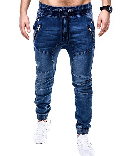 BetterStylz - Pantalon - Homme multicolore Mehrfarbig Medium Denim / ButtKneeZip