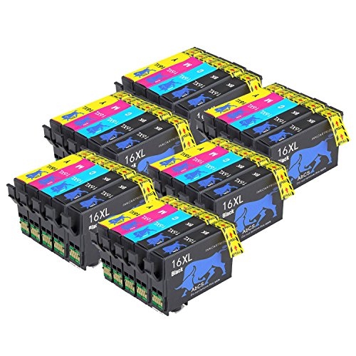 Abcs Printing 16 16XL Cartucce inchiostro Compatibili per Epson Workforce WF-2510 2630 2750 2760 2010 2530 2660 2520 2650 2540 stampanti,12 Nero, 6 Cyan,6 Magenta, 6 Giallo