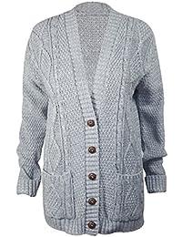 NOUVELLES FEMMES MANCHON LONG boutons HAUT CHUNKY ARAN tricot CÂBLE GRAND PAPA CARDIGAN Gilet Encolure V À Torsades - Femme