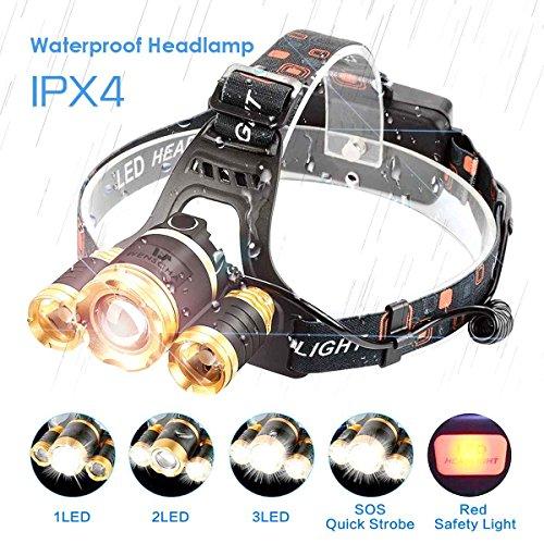 Lampe frontale LED puissante rechargeable 4 modes Luminaire T6 avec sangle élastique pour camping randonnée trekking aventure(batterie inclus et un petit cadeau)