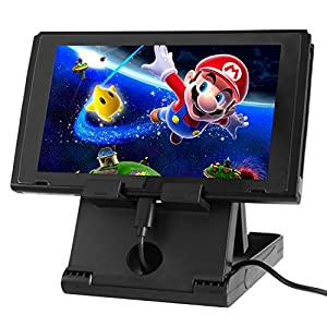 TechKen Switch Ständer Dock Halterung Verstellbare für Switch,Switch Halter Stand Multi Winkel Faltbar Höhenverstellbar Switch Spiele für Switch Gerät Schwarz