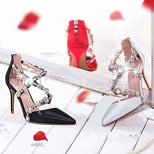 L@YC® Frauen High Heeled Schuhe Crystal Sandalen Bankett Fine Mit Spitzen Komfort Kleid Pumpe Red