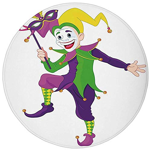 ZMYGH Round Rug Mat Carpet,Mardi Gras,Cartoon Style Jester in Iconic Costume with Mask Happy Dancing Party Figure,Multicolor,Flannel Microfiber Non-Slip Soft Absorbent,for Kitchen Floor Bathroom