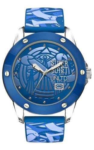 Marc Ecko Unisex Quartz Watch with Blue Dial Analogue Display and Blue Silicone Strap E09530G8