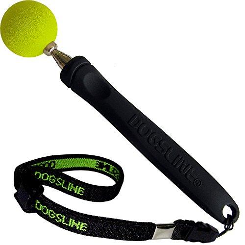 DOGSLINE Target Stick mit Stretch-Armband, Ausbildung und Training für Hunde Katzen Pferde, Edelstahl Teleskopstange 17-73cm, schwarz DL11TSA