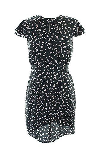 Maison Jules New Black Flutter-Sleeve Pleated Floral Dress S $79.5 DBFL (Dress Sleeve Floral Flutter)