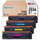 myCartridge Cartouches de Toner compatibles HP 203A CF540A - CF543A pour HP Color Laserjet Pro M254nw M254dw MFP HP Color Laserjet Pro M280nw M281fdn M281fdw (Noir/Cyan/Magenta/Jaune)