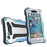 qichenlu [Robuste Konstruktion] Blau iPhone 6s Plus / 6 Plus Aluminium Silikon Hybrid Gehäuse,Eingebaute Display Glasfolie Rundumschutz Outdoor Hülle Extrem Stoßfest Metall Case für iPhone 6s Plus / 6 Plus