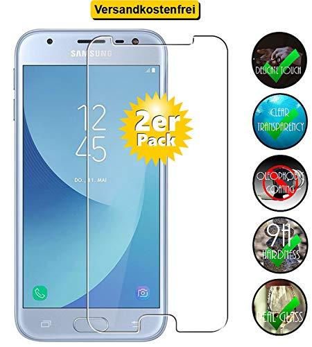 Smartphone-Equipment [2er Pack] Panzerglas für Samsung Galaxy J3 2017 Echt-Hartglas 9H, Bildschirmschutz Panzerfolie Glasfolie Schutzfolie Glas Folie Bildschirm Schutz