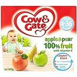 Vache & Portail Pomme Et De Poire De Fruits 100% Avec De La Vitamine C À Partir De 4-36 Mois 4 X 100G - Lot De 2