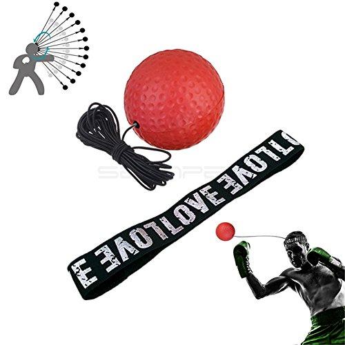 Boxen Fight Ball, Reflex Fight Ball, mit Kopf Band, Boxen, Punch Ball, verbessern Punch Sport Aufgabe für Training verbessern Reaktionen und Speed, Boxer Studio Equipment sowohl für Training und Fitness, rot (Ball Release Seil)