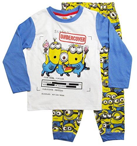 Minions Schlafanzug Kollektion 2016 Pyjama 92 98 104 110 116 122 128 Jungen Neu Herbst Winter Lang Nachtwäsche Blau-Gelb (92 - 98, (Minion Kleid)