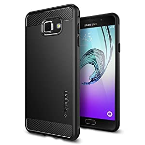 Samsung Galaxy A7 2016 Housse de Spigen [Rugged Armor] élastique [Noir] ultime protection contre les chutes et les chocs – [Look Carbone] Coque de protection en silicone pour Samsung Galaxy A7 2016 Case, Samsung Galaxy A7 2016 Cover, Samsung A7 2016 Case, Samsung A7 2016 Cover – Black (sgp11840)