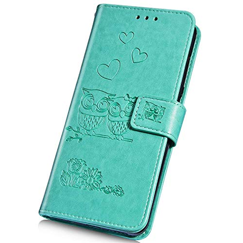 Surakey Cover Compatibile con iPhone 7/8 Custodia Flip PU Pelle Modello Gufo Case Libro Portafoglio Cover con Supporto Porte Carte Anti-Scratch Custodia per iPhone 7/8,Verde