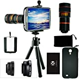 Samsung Galaxy S4 Camera Lens Kit including 8x Telephoto Lens / Fisheye Lens / Macro Lens / Wide Angle Lens / Mini Tripod / Universal Phone Holder / Hard Case for Samsung Galaxy S4 i9500 / Velvet Phone Bag / CamKix® Microfiber Cleaning Cloth / Awesome Accessories and Attachments for Your Samsung Galaxy S4 Camera