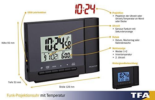 TFA Dostmann Funk-Projektionsuhr mit Thermometer, Kunststoff, Schwarz, 12 x 5 x 9 cm