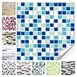 Wandora 1 Set Fliesenaufkleber 25,3 x 25,3 cm blau türkis Silber Design 20 I 3D Mosaik Fliesenfolie Küche Bad Aufkleber W1536