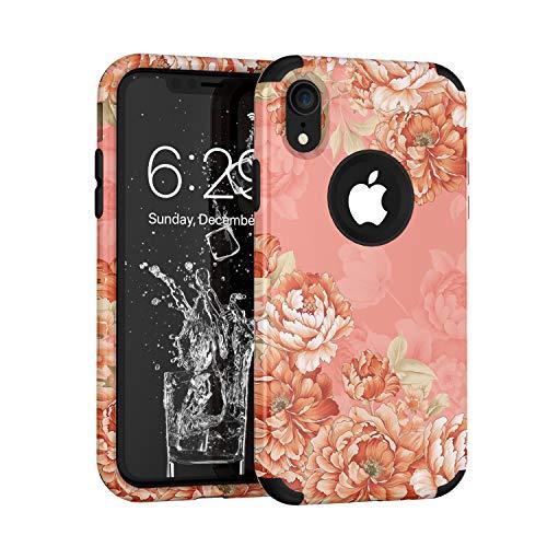 hone XR 2018, Blumenmuster, dreilagig, robust, robust, stoßfest, für Apple iPhone XR 15,2 cm (6 Zoll), Rose ()