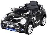 Actionbikes Motors Kinder Elektroauto Mini Cooper Eva Reifen Ledersitz Kinderfahrzeug Kinderauto in vielen Farben (Schwarz)