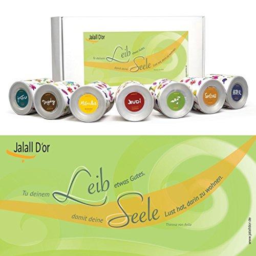 Geschenkset KÖRPER & GEIST (Avila) von Jalall D'or mit 7 Dosen | Geschenkbox mit Premium-Trockenfrüchten | Geburtstagsgeschenk Mann & Frau | GESCHENK Frauen & Männer | Geschenke für Sie | für ihn