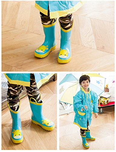 Bigood Botte de Pluie Enfant Caoutchouc Chaussures Animaux Imprimé Casual Mignon Lac Bleu