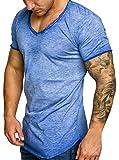 Ehpow T Shirt Herren Rundhals Kurzarm T Shirt Slim Fit T-Shirt Oberteile (Blau, X-Large)