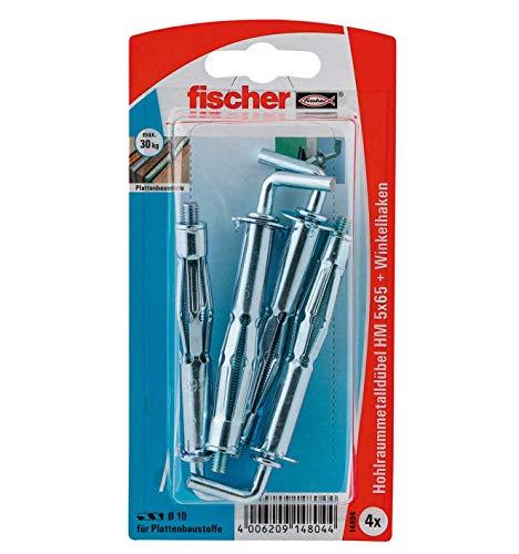 fischer 014804 HK SB-Karte, Inhalt Hohlraum-Metalldübel HM 5 x 65, 4 x Winkelhaken mit Bund 5 x 70