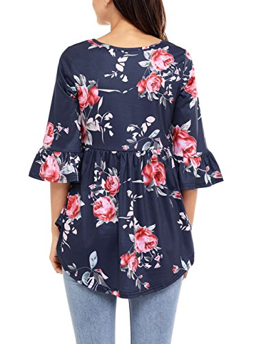 Nicetage Damen Rundhals Langarmshirt Floral Splice Printing Pullover Langarm Bluse Tops T-Shirt Dunkelblau-02