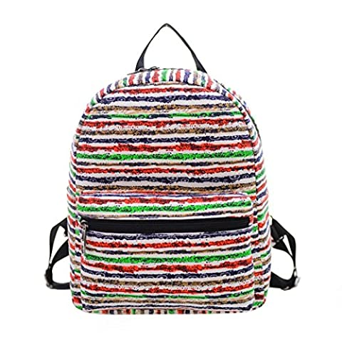 WalshK Women Canvas Shoulder Bag Printing Bag School Backpack Rucksack (Green)