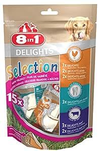 8in1 Delights Selection gesunder Kausnack-Mix Größe XS (verschiedene Snacks für kleinere, auch kräftiger stärker kauende Hunde von 12 bis 35 kg), 15 Stück (248 g Beutel)