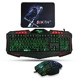 BAKTH LED Hintergrundbeleuchtung Beleuchtete 7 Farben Helligkeit USB Wasserdicht Gaming Tastatur und Maus Set, QWERTZ DE Layout, Maus mit 2400 DPI + Langlebig Mauspad
