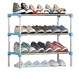 FKUO Schuhregal einfach zusammengebauten Kunststoff mehrere Schichten Schuhe Regal Storage Organizer Stand Halter halten Raum ordentlich Tür Platz sparen (Drei Schichten blau, 57*29*47CM)
