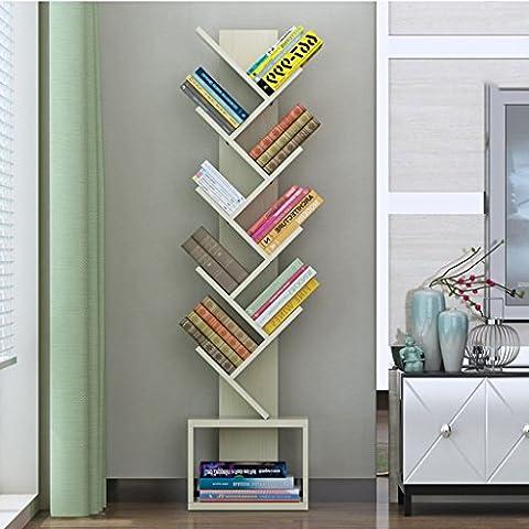 Tree Shape Bookshelf Modern Simple Living Room Landing Shelf Personality Solid Wood Bedroom Child Bookcase ( Color : White maple