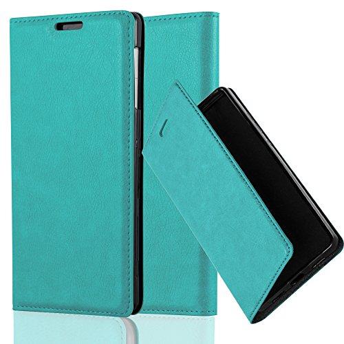 Cadorabo Hülle für Sony Xperia Z1 - Hülle in Petrol TÜRKIS – Handyhülle mit Magnetverschluss, Standfunktion und Kartenfach - Case Cover Schutzhülle Etui Tasche Book Klapp Style