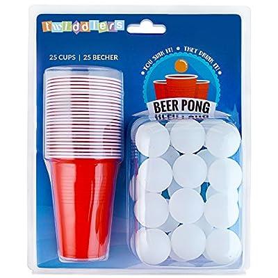 Ensemble Complet Gobelet Plastique Beer Pong - 25 Verre + 25 Balle - Parfait pour Soirée et Fête de Noël