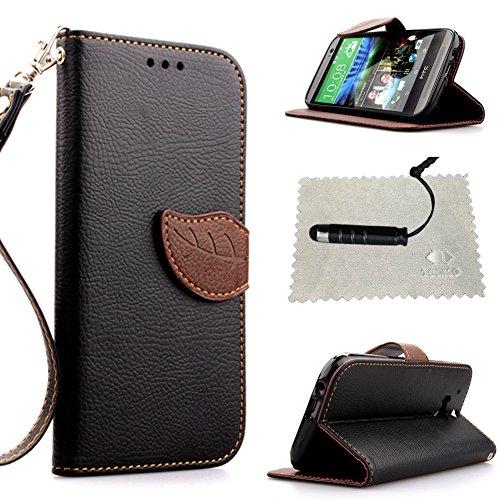 Custodia per HTC One M8 Nero,TOCASO Flip Wallet Case PU