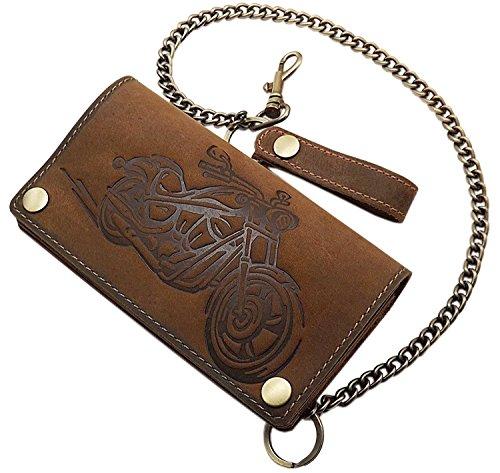 Echt Büffel-Vollleder Querformat Bikerbörse / Geldbörse / Geldbeutel / Portemonnaie / Portmonee mit Metallkette mit herausnehmbarem Kartenetui mit RFID & NFC Schutz in Schwarz oder Braun (Braun) -