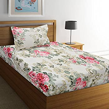 Ahmedabad Cotton Comfort 160 TC Cotton Single Bedsheet with Pillow Cover - Floral, Multicolour (60 inch x 90 inch)