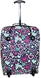 Hand Luggage Cabin Bag Trolley with Wheels Flight Bags Suit Case for Easyjet, Ryanair, British Airways, Virgin, FlyBe, Jet 2 and Many others Airlines or Travel … (Purple Butterfly & Hearts)