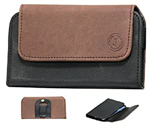Jo Jo A4 Nillofer Belt Case Mobile Leather Carry Pouch Holder Cover Clip Samsung Galaxy Music Duos S6012 Brown Black
