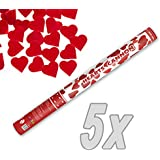 Herz Konfetti Shooter 60 cm XXL ! Popper Kanone Konfettikanone rote Herzen - 5 Stück