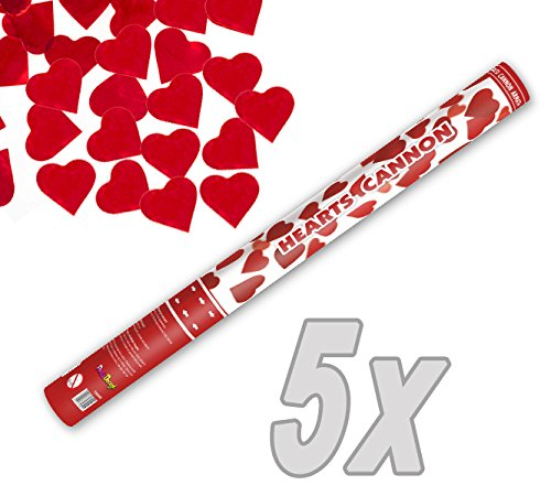 feuerwerk herzform Herz Konfetti Shooter 60 cm XXL ! Popper Kanone Konfettikanone rote Herzen - 5 Stück