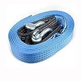 QJONKE Trailer Seil Doppelschicht Polyester U-förmiger Stahlhaken, blau, 5M 8T