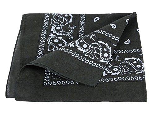 Bandana oliva scuro paisley multifunzione classica BA-61 di colori diversi foulard scialle collo rocker biker motociclista motorcycle pirata accessorio hip hop cappellino cowboy bracciale