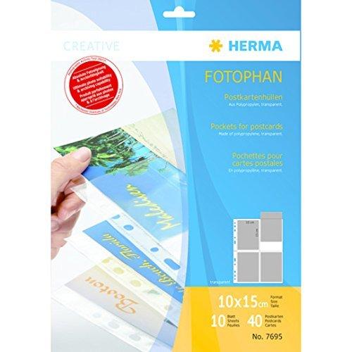 Herma 7695 Fotophan Postkartenhüllen (Folie, transparent) 10 Blatt, für 40 Karten im Format 10 x 15cm, mit Eurolochung für Ordner und Ringbücher