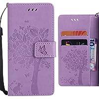 Ougger Funda Sony Xperia L1 (G3311, G3312, G3313) Carcasa, Hoja Suerte Impresión Silicona Tapa Piel Billetera PU Cuero Magnética Cover Protector con Ranura para Tarjetas (Luz Púrpura)