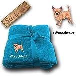 Kuscheldecke Chihuahua M3 + Wunschtext (Blau)