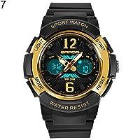 Timeracing Fashion Kids Unisex Luminous Alarm Waterproof Digital Display Sports Wrist Watch (Black + Golden)